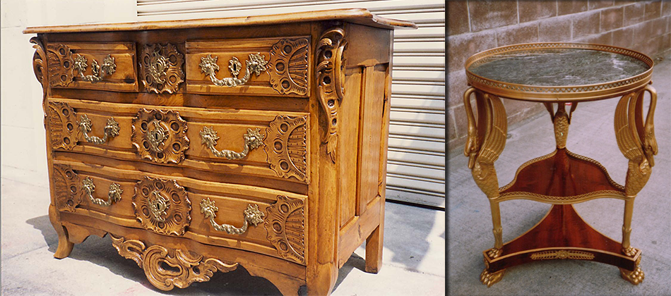 Restoration - We do complete interior restoration including on high-end European antiques, furnitures, fine arts oil paintings, and gilded picture & mirror frames.